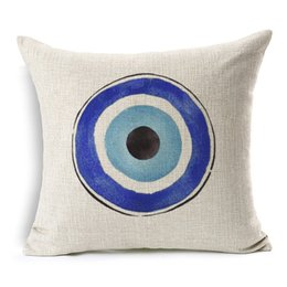 Wholesale Evil Eye Green - Evil Eye Cushion Cover Mediterranean And Asian Tribes Culture Cushion Covers Sofa Throw Decorative Linen Cotton Pillow Case New