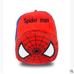 Wholesale Kids Spider Man Gift Bag - Spider-man Bat-man Kid's Plush Backpack Kids Cartoon School Bag Children's School Bag Super Hero Cartoon Backpack Kid's Birthday Gift