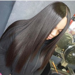 Wholesale European Remy Wigs - Glueless Human Hair Full Lace Wigs Silky Straight Remy Hair Mongolia 130% Density With Bleached Knots Natural Hairline