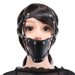 Wholesale Sm Mouth - Head Harness SM Bondage Restraints Open Mouth Gag Sex Toys for Couples Silicone Gag Mask Fetish Slave Erotic Toys