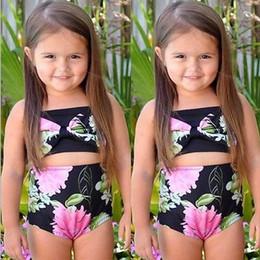 Wholesale Swimming Suit Flower - 2017 Floral swimwear girls Flower Printe Kids Bikini Swimsuit Summer Children 2pcs Sets Cute Girls swim suit C726