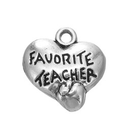 Wholesale Wholesale Stamped Charms - Online Wholesale Vintage Favorite Teacher Stamped On Heart Shape Charms With Apple Raised For Teacher's Day AAC147