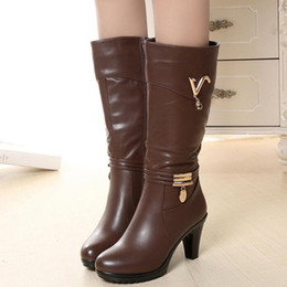Wholesale Western Cotton Top - TOP Selling 2017 Winter Outdoor Women Female Fashion Casual Mujer High Chunky Heels Platform Cotton Warmth Boots bottine Shoes Zapatos C036