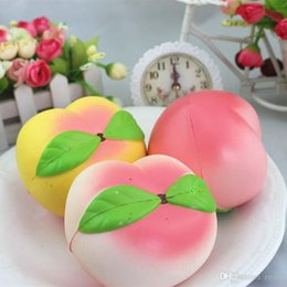 Wholesale Cute Bread - Jumbo kawaii Squishy Slow Rising Peach Pendant Phone Straps Charms Queeze Kid Toys Cute squishies Bread Free Shipping
