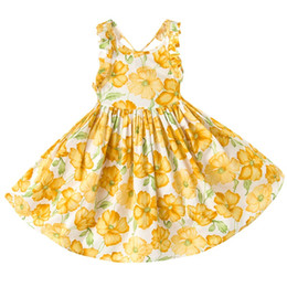 Wholesale Western Cotton Dresses - Everweekend Girls Summer Floral Dress Halter Backless Orange Dress Ruffles Princess Party Dresses Western Fashion Children Dress