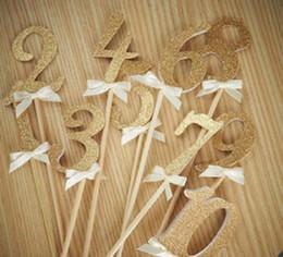 Bolos de números on-line-Toppers do bolo de papel glitter número 0-9 para Cupcake Wrapper Baking Cup aniversário tea party decoração do chuveiro de bebê
