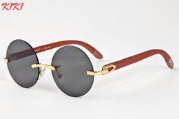 Wholesale Foot Wraps - New 2017 Brand Designer Sunglasses For Women Round Lens Bamboo Rimless Sun Glasses For Men Real Wood Foot Retro Vintage Wooden Eyewares