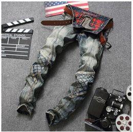 Wholesale Denim Retro Top - New Original Design Top Quality Men's Distressed Jeans Retro Stitching Males Punk Rock DS DJ Personality Street Slim jeans Motorcycle Jeans