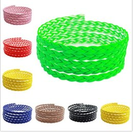 Wholesale diy bracelets materials - 5mm Flat PU Braid Leather Cord Rope Thread Fitting DIY Necklaces & Bracelets Jewelry Findings Materials