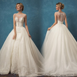 Wholesale Cheap Couture Gowns - Custom Made New Couture 2017 Wedding Dress with Detachable Train Lace Beaded Amelia Sposa Wedding Dresses Cheap Bridal Gown Over Skirt