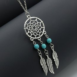 Wholesale dreamcatcher jewelry - Dream Catcher Pendant Necklaces Fashion Dreamcatcher Turquoise Necklace Women Jewelry Gift