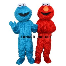 Wholesale Sesame Street Mascots - TWO PCS!! Sesame Street Red Elmo Blue Cookie Monster Mascot Costume, Animal carnival +Free shipping