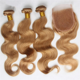 Wholesale Strawberry Blonde Weave - Honey Blonde Body Wave Human Hair 3Bundles With Lace Closure 4Pcs Lot Peruvian Virgin Strawberry Blonde 27 Hair Weaves With Closure 4x4