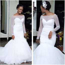 Wholesale Cheapest Wedding Gowns - 2017 Cheapest Mermaid Wedding Dresses Modern Sheer Jewel Neck Pleats Long African Nigeria Summer Wedding Bridal Gowns Puffy