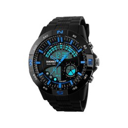 Wholesale Divers Watch Analog Digital - 2017 hot sale pointer work Men's sports watches LED light watch running hiking digital shock watches men