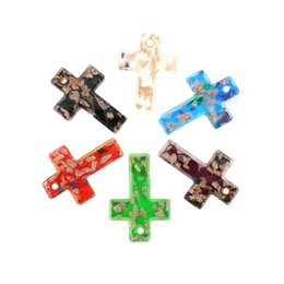 Wholesale Cross Pendants For Jewelry Making - Hot Sale Necklace Glass pendantd Gold Sand Lampwork Glass Cross Pendant for Jewelry Making 12pcs box, MC00101