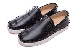 Wholesale Pull Leather - Red Bottom Sneakers Suede Spikes Casual Shoes Black Sheepskin Round Diamond Two Ring Drill Low Feet To Pull The Cart Trainers Footwear Shoes