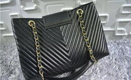 Wholesale Sholder Bag Leather - New arrivals High quality Black GST V-shaped Bag Lambskin Leather Grand Shopping Tote with gold hardware Large Sholder Bag