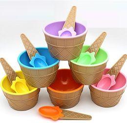 Wholesale Mini Bowling Sets - kids Children Plastic Ice Cream Bowls cups Spoons Set Lovely Dessert Bowl MINI Ice Cream Tools h101