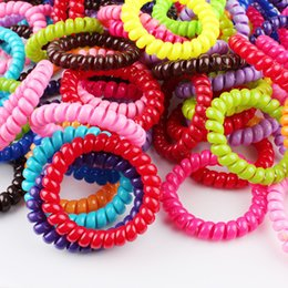 Wholesale Wear Ring - 5.5CM Candy Colored Telephone Line Gum Elastic Ties Wear Hair Ring Elastic Hair Bands Hair ties Hair ring hair wear Hair Accessories