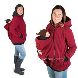 Wholesale Baby Fleece Wear - Mommy fleece coat carry baby maternity coat multifunctional kangaroo fleece sweater coat with baby wear triple function WNT01
