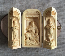Wholesale Antique Japanese Box - Chinese wood carving 3 Buddha Buddha Buddha 3 open box handicraft