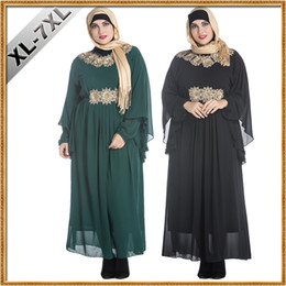 Wholesale Embroider Women Dress - Big Size Fat Women Clothes Muslim Decals Malaysia Arab Robes Middle East Female Bats Long Sleeve Plus Size Maxi Embroidered Chiffon Dress