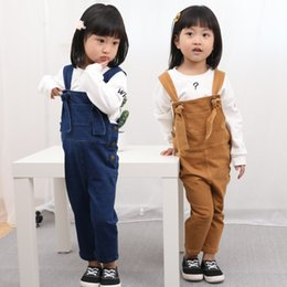 Wholesale Overalls For Kids Boy - Kids casual cotton suspender trousers fashion knotted belt overalls boys girls cute spring autumn trousers for 1-8T