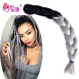 Wholesale Wigs Kanekalon Wholesalers - Xiuyuan Synthetic Hair Weave Bundles Ombre Kanekalon Braiding Hair Expression Braiding Hair Bulk Wigs Free Shipping