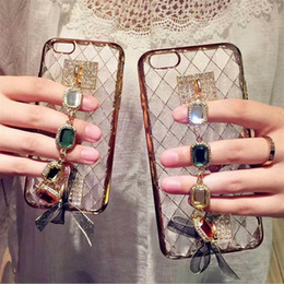Wholesale Handmade Gemstone Bracelets - For iPhone 5S 6S 7 Plus For Samsung S5 S6 S7 edge Bling gemstone Diamond Clear Gem Phone Case bracelet Cover DIY handmade