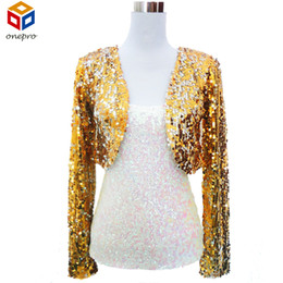 Wholesale Cropped Blazer Jacket - Women Cropped Blazer Bolero Shrug Clubwear Party Costumes Shiny Sequin V-Neck Short Vest Sexy Shrug Cardigan Jacket