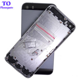 caso medio di iphone 5s Sconti 20pcs cassa posteriore della batteria di alloggiamento reale per iPhone 5 5G 5S alloggiamento cassa posteriore della batteria metallo telaio medio + piccolo monitoraggio parti