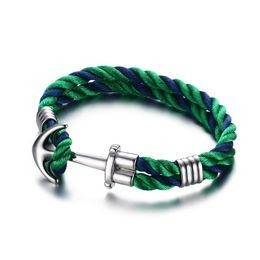 Wholesale Sailor Bracelets Wholesale - Wholesale-Men's Woman's Nylon Ropes Bracelet Nautical Style Sea Sailor Stainless Steel Anchor Bangle Cuff Wristband with Green Black