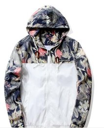Wholesale Black Twill Jacket - GUEQI Fashion Hooded Print Floral Bomber Jacket Front-Zip Men's Windbreakers Loose Casual Lightweight Breathable ape Jacket