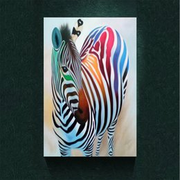 Wholesale Rainbow Spray Paint - Modern Abstract Canvas Art Beautiful Rainbow Colors of Zebra Oil Painting Print on Canvas Wall Decor Canvas Poster Pictures Painting