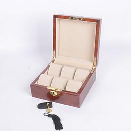 Шкафы люкс деревянные онлайн-Luxury Wood Piano paint 6 Слотов Смотреть Box многие часы витрина коробка для хранения высокое качество для наручных часов случае