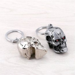 Wholesale Cool Rings For Men - Julie Newest The Terminator Skull Head Shape Model Alloy Keychain For Fans Skeleton Cool Key Ring porte clef Chaveiro JJ11520