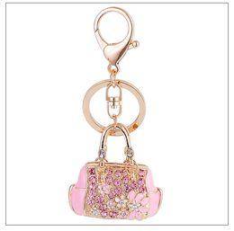 Wholesale Skeleton Handbags - Fashion Jewelry Exquisite Enamel Handbag Car Keychain Bag Pendant Key Ring Classic Crystal Rhinestone Key Chain Ornaments Creative Gift