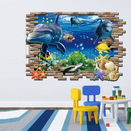 Wholesale Underwater Wall Decorations - New Special Design 3d effect Underwater World Dolphin Turtles Background Fashion Wall Stickers Home Decor decoration