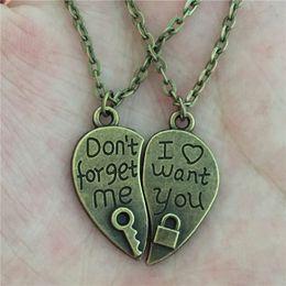 af0b4ca4e3 Wholesale- 1 Pair Women Lovers Couples Jewelry Vintage Bronze Broken Heart  Parts 2
