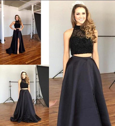 Wholesale Draped Halter Top - Fashion Two Pieces Prom Dresses Halter Beaded Top Satin Skirt A Line Long Formal Party Dresses Hot Black Split Evening Gowns