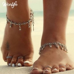 Wholesale Tribal Silver Jewelry Wholesale - 2017 Summer Style Bohemian Gypsy Turkish Tribal Boho Silver Coin Anklet Ankle Bracelet Boho Foot Jewelry