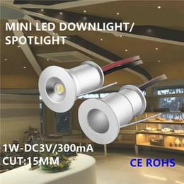 Wholesale 1w Led Spot Lights - 9pcs 1W cabinet mini led spotlight small led spot light 1W ceiling spot light 30 120 degree15mm cutout DC3V 300mA input led furniture light