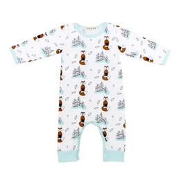 Wholesale Newborn White Bodysuit - 2017 Baby White Foxes Jumpsuit Boys Newborn Romper Infant Cotton Onesies Bodysuit Autumn Clothes For 70-100cm