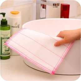 Wholesale Wholesale Kitchen Towels Dishcloths - Cotton Fiber Wash Cloth Towel Ultra Absorbent Bowl Cleaning Cloth Rags Kitchen Dishcloths Towels No Oil Scouring Pad