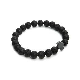 Wholesale Hematite Cross Bracelet - 2017 New 8mm Natural Lava Stone Beaded Bracelet Men Hematite Gallstone Cross Bracelets Pulseras Hombre Yoga Jewelry F3761