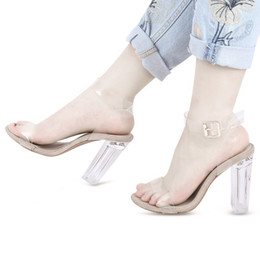 Wholesale Open Toe Transparent Shoes - Sexy Open Toe Transparent Tape Ladies Thick Heel Sandals Zapatos Mujer Sapatos Ladies Woman Elegant Shoes Summer Ladies Shoes +B