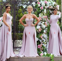 Wholesale Detachable Train Bridesmaids Dress - 2017 Elegant Miss Universe Pink Long Bridesmaid Dresses With Detachable Train Satin V Neck Maid Of Honor Party Gowns