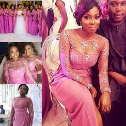 Wholesale Royal Blue Wedding Dress S - Plus Size Bridesmaid Dresses Long Sheer Neckline Lace Top Wedding Guest Dress Formal Wear African Vestidos Mermaid Prom Dress
