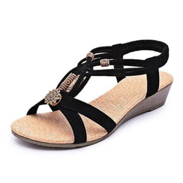 Wholesale Vintage Gladiator Shoes - Women Sandals Summer New Vintage Style Gladiator Platform Wedges Shoes Woman Beach Flip Flops Bohemia Sandal Free Size